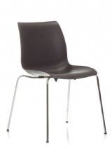 Laser Chrome & Plastic Stacking Side Chair in Black